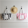 CANDY STRIPED BEACH TOTE