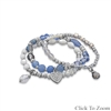 SET OF 3 MULTI-CHARM STRETCH BRACELETS - CHOICE OF 2 COLOR OPTIONS