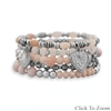 MULTICHARM SILVERTONE STRETCH BRACELETS WITH PINK BEADS - SET OF 5