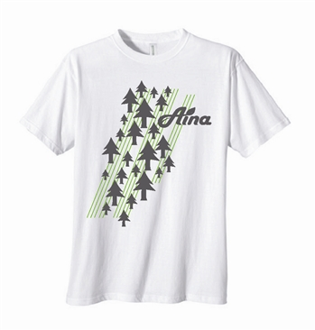 white organic cotton t-shirt with green pine trees