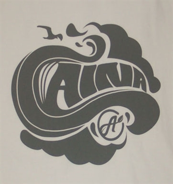 Aina Clothing white organic cotton tshirt with wave and flying bird
