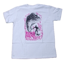 Mens Aina Clothing organic cotton white t-shirt with surfer riding a wave