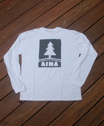Aina Clothing organic cotton white long sleeve t-shirt with Pine tree