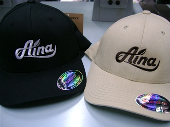 Aina Clothing logo Flexfit organic cotton hat