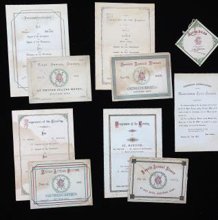 Four (4) menus with original envelopes for the First through Fourth Annual Dinners of the Veteran Association of the Hartford City Guard plus an announcement and dance card associated with the events 1868-1871