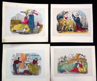 A collection of 8  Hand colored Engravings with Risque or Somewhat Off Color Proportedly from the Collection of Jonathan King