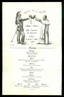 Menu for Dinner Honoring Academic Painters Edouard Detaille De Neuville  and T. G. Vibert at the Cercle De La Presse, March 7, 1882