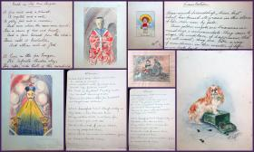 . Autograph Album and Sketch Book created by Employees of the Ministry of Munitions, Drawing Office,  includes Women's Advancement, Fine Watercolors and Sketches - some Chinese Characters. . .Town Hall Anerley, S. E. London .1918