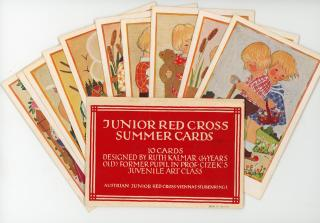 Ruth Kalmar Wilson (Artist) Junior Cross Summer Cards, Containing 10 Cards Designed by Ruth Kalmar at age 14 years. Austrian Junior Red Cross.Vienna, Austria.[1936]