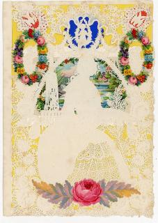 Octavo - Elaborate Lace Paper Elegant Woman holding a Hand Fan in a Garden. ..