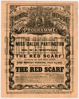 Two Sided Promotional Flyer of the Trimble Opera House Showing of The Red Scarf. .Albany, NY.July 1871