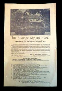 R. F. Gundry , M. D. The Richard Gundry Home, A Circular. The Richard Gundry Home.Catonsville, MD.[1910]