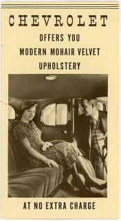 Promotional Brochure - Chevrolet Offers you Modern Mohair Velvet Upholstery - At No Extra Charge. Evans-Winter-Herb.Detroit, MI.1930s