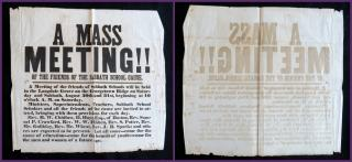 A Mass Meeting!! Of the Friends of the Sabbath School Cause, A Broadside. .Dearborn County, IN.August 1851