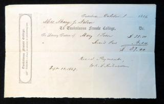 Tuition Receipt from Tuskaloosa Female College. Tuskaloosa Female College.Tuscaloosa, AL.October 1, 1866