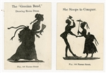 Two  Whimsical Silhouette Cards - The Grecian Bend. Fay, (E.B.).New York.1880s