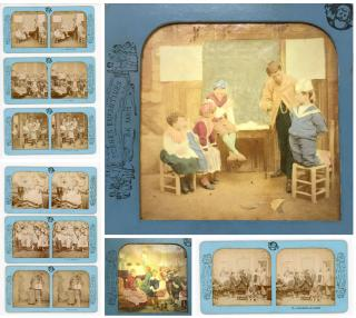 10 French Tissue Stereoviews - Children in Adult Situations from the Scenes Enfantines Series. BK.Paris.[1860s]