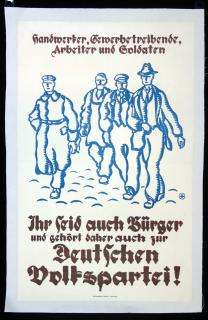 German People's Party Political Poster. Muhlmeister & Johler.Hamburg, Germany.c1930