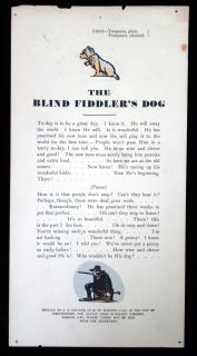 The Blind Fiddle's Dog Song Sheet. A.T. Stevens.England.