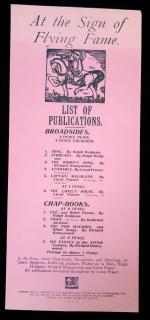 At the Sign of Flying Fame List of Publications Broadside. A.T. Stevens.London.1913