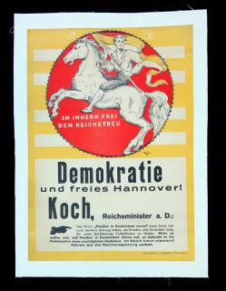 V Hugh German-Hanoverian Party Political Poster. Hannoversche Buch u Kunstdruckerei A. Funke.Germany.c1918