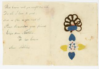 Friendship Letter with eternal ring plaited hair from Emma to John Van Syckel. .Mount Pleasant, NJ.1818