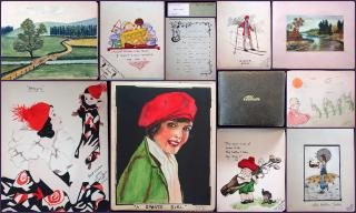 Friendship Album for Mabel Cavalier with sentiments and 22 plus full page drawings, watercolors and novelties. .Forest Gate, London.1930