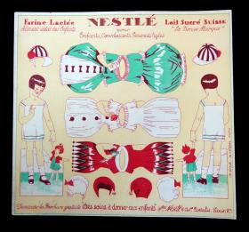 Uncut 2 Sided Adv. Paper Doll Nestle Products- French - Art Deco 1930s. ..1930s