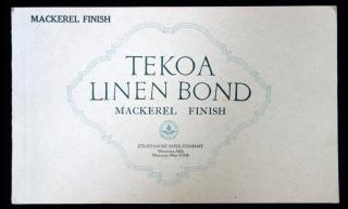 Tekoa Linen Bond Mackerel Finish .  . Strathmore Paper Co . Woronoco, Mass. . 1910s