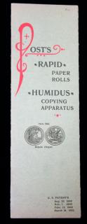 Post's Rapid Paper Rolls, Humidus Copying Apparatus .  . Post .  . 1902