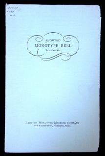 Showing Monotype Bell Series No. 402 .  . Lanston Monotype Machine Company . Philadelphia, PA . 1940