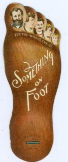 "Die-cut Promotional Book in the shape of Foot Promoting Wayne Knitting Mill, Full Matchless Fashioned Hosiery. ""Something on Foot"".. ..1990"
