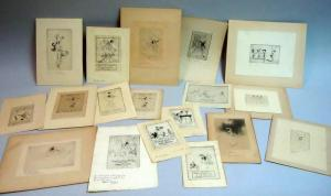 A collection of 18 personal New Year greetings etchings and drypoints by Troy Kinney 1916-19371930