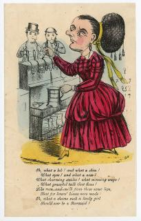 Barmaid Vinegar Valentine - Oh what a bob! and what a Chin! . ..1850s