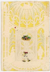 Octavo Valentine with Elaborate Windsor Lace Paper with Hidden Message. ..1840s-1850s