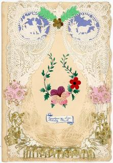 Octavo - with Tiered Lace Paper and Theorem Style Floral Design. ..1850s