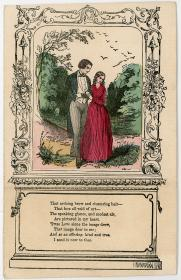 Civil War Era - Hand colored valentine - Strolling Couple. .American. .1860-1870