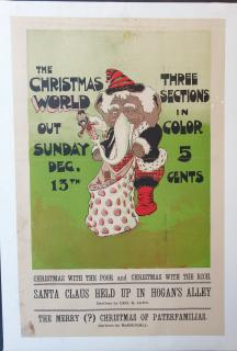 ". Color Broadside promoting the ""Christmas World"", Three Sections in Color for 5 cents.  Out Sunday, Dec. 13 . The New York World.New York .1906"