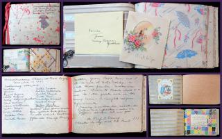 Hand Crafted Wedding Shower Album for Louise Constructed Entirely of Wrap & Gifts Received.Norwich VT.1943