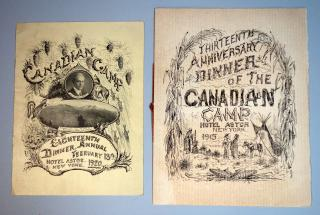 Two (2) menus for the Canadian Camp Annual Dinners Hotel Astor, New York, 1915 and 1920.
