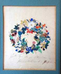 Delicate and Fine Floral Wreath Cut Paper Collage – Cut by Miss Stevenson from Colored Paper in the style of Mary Delany c1850