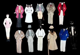 "8"" Handmade Watercolor Male Paper Doll named Drake Shelbourne with 11 Costumes & 3 Hats - Contemporary and Historical Attire c1940s. .."