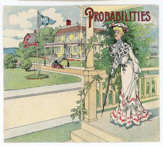Probabilities - An Edwardian era guide to signals used by the Government Weather Bureau, the implications on house paint and other Prognostications indicating changes in the weather. Lowe Brothers Company.Dayton, OH.c1910