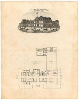 Plan for Fenwick Hall, presented by The New Saybrook Co.. Kellogg & Bulkeley. Lith.Hartford, CT .[1871]
