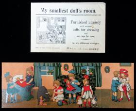 My smallest doll's room - Furnished Nursery with several dolls for dressing and nice toys for same. In six different designs. Germany, c1930s.. ..