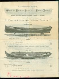 Waters' Patent Improved Paper Boats for Racing, Exercise, Pleasure, Shooting, Fishing & Traveling. .Troy, NY.1875
