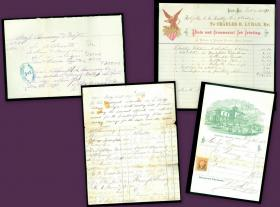 Documents associated with the early development of the Holyoke to South Hadley Falls Bridge including pledge petition, receipt for survey and plans, and bill heads for material printing and Bridge Committee dinner receipt 1870. . ..1870