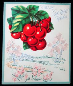 Get Well Card with recipe for Easy Cherry Tarts.... ..1940s