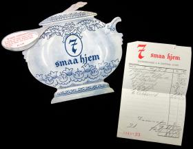 Menu and Receipt for 7 smaa hjem (7 small houses), Denmark . ..