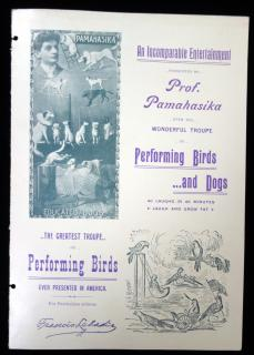 Promotional Flyer for Pamahasika's Bird Circus c1910. ..
